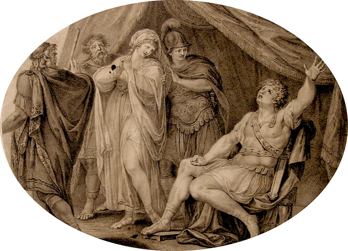 the quarrel of agamemnon and achilles About a girl named chryseis,which the greeks carried off and gave to agamemnon.