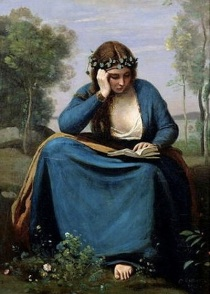 """""""The Reader Crowned with Flowers"""" by Jean Baptiste Camille Corot"""