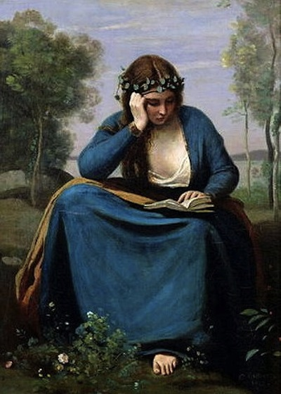 """The Reader Crowned with Flowers"" by Jean Baptiste Camille Corot"