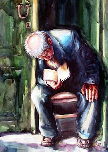 """Old Man Reading Book"" by Atanur Dogan"