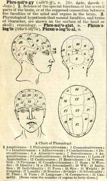 "Phrenological ""map"" from around 1900 (source: wikimedia)"