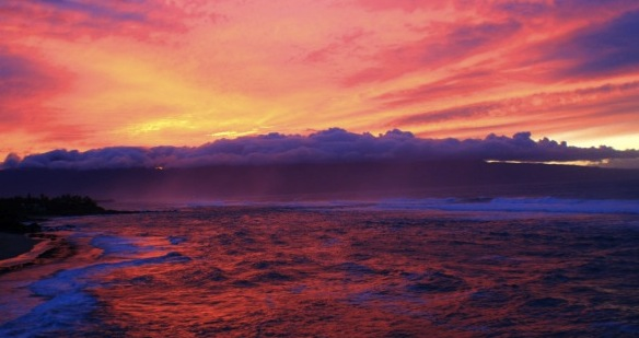 """gaudy display of nature"" -- a sunset in Hawai'i"