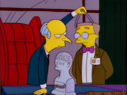 Mr.Burns measuring Mr.Smithers' skull
