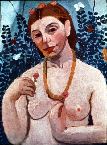 "Paula Modersohn-Becker, ""Self-portrait with amber necklace"""