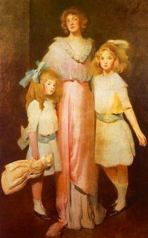 """Portrait of Mrs.Daniels with 2 Children"" by John White Alexander (1913)"
