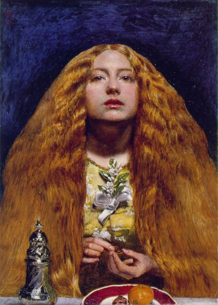 "Millais' ""Bridesmaid"" -- my favorite Pre-Rapahelite painting. Also red-haired."