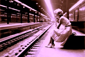 teenage girl waiting for the train, chicago, 1960