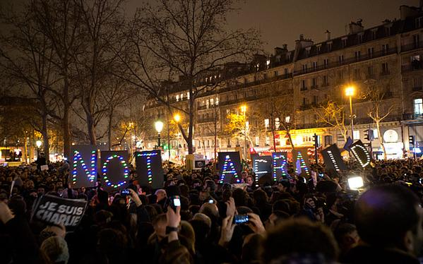Across Europe, people demonstrate their solidarity with the cartoonists that were murdered in Paris.