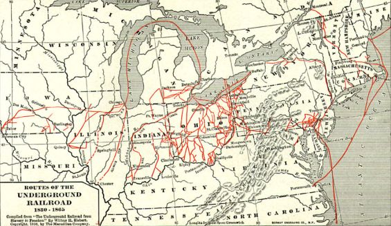 map of some routes of the underground railroad (sorce: wiki)