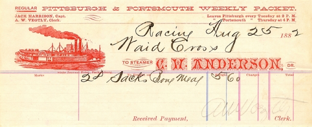 waybill for a steamer, image from the Dave Thomson Collection (click for source)