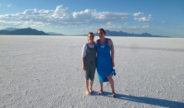 with V. on the Bonneville Salt Flats